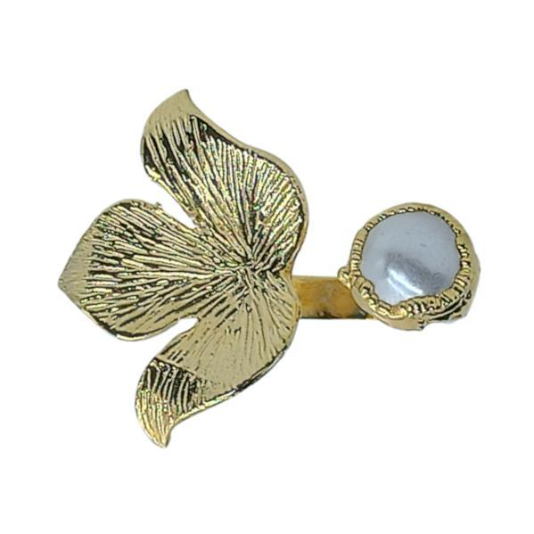 Handmade Carved Leaf Ring with Water Pearl 24K Gold Finished | Insight