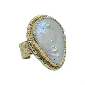 Handmade Carved Ring 24K Gold Finished with Baroque Water Pearl | Eternal