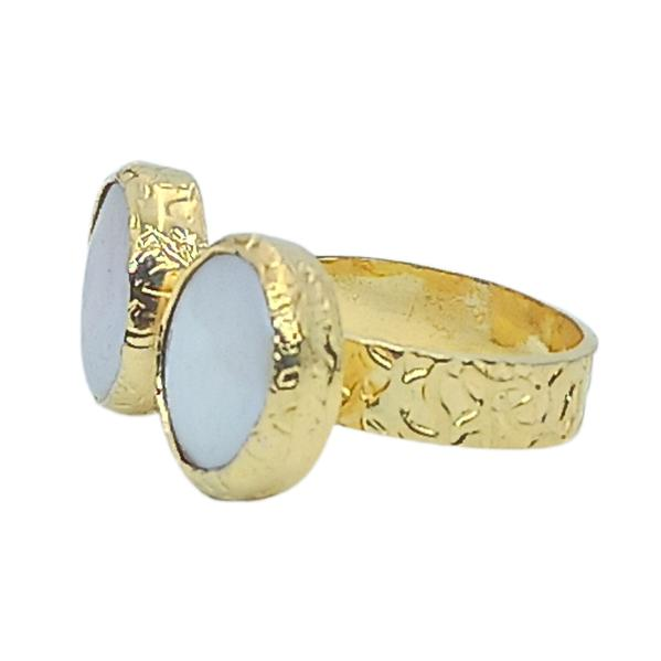 Handmade Carved Ring 24K Gold Finished with Ivory | Classy