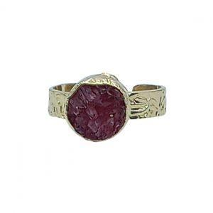 Handmade Carved Ring 24K Gold Finished with Ruby Chips | Classy