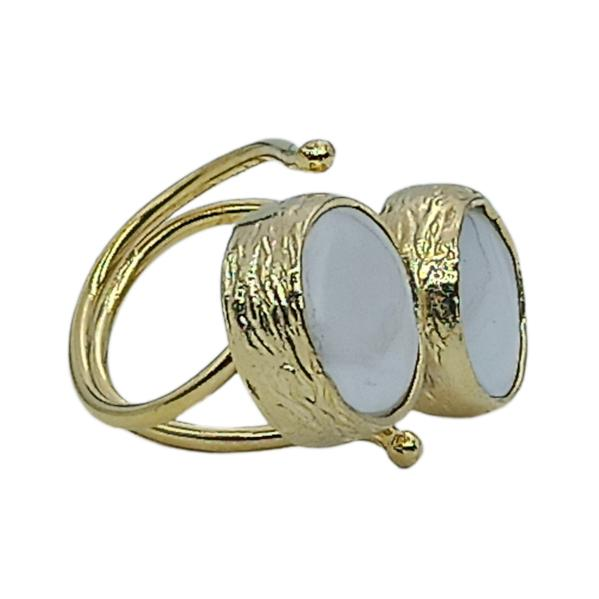 Handmade Carved Women's Ring with Pearl 24K Gold Finished | Classy