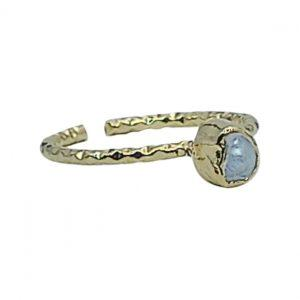 Handmade Forged Ring 24K Gold Finished with Pearl | Classic