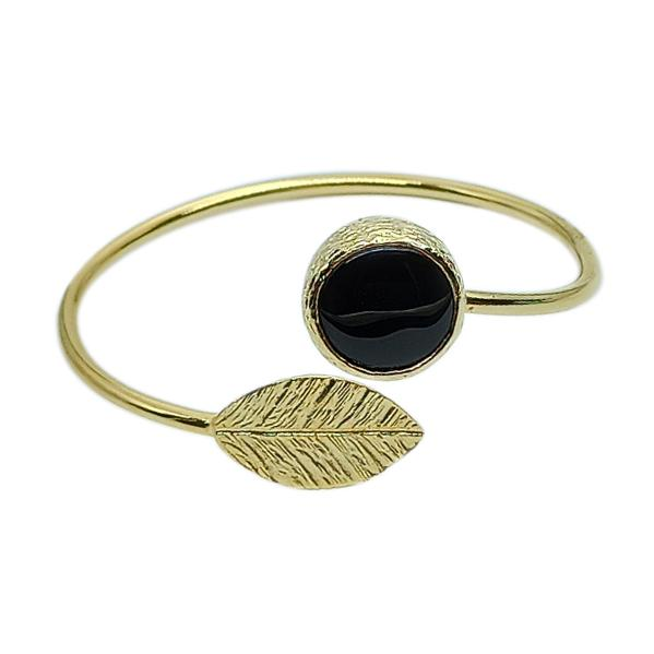 Handmade Jewelry Set 24K Gold Finished | Black Sensation | Leaf & Onyx | Free-Shipping | Adjustable-size | Inspired from Ancient Greece