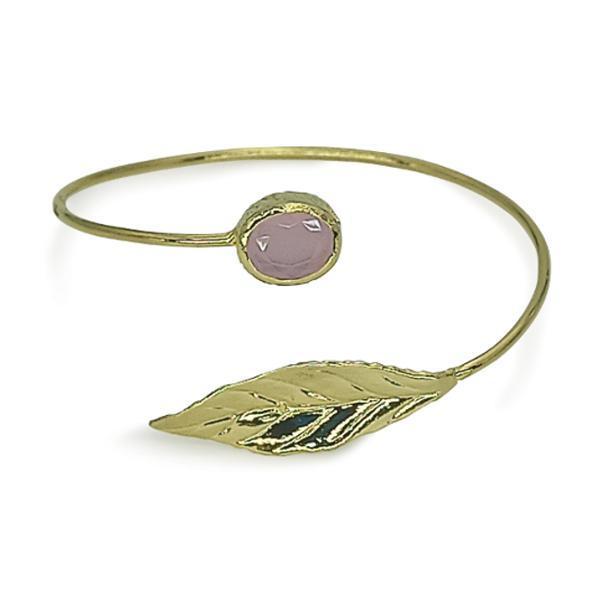 Handmade Leaf Bracelet 24K Gold Finished with Light Pink Quartz | Sensation