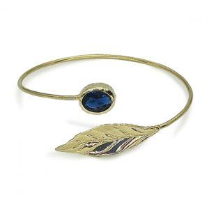 Handmade Leaf Bracelet 24K Gold Finished with Montana Blue Crystal | Sensations