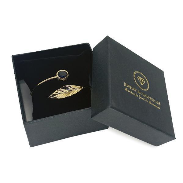Handmade Leaf Bracelet 24K Gold Finished with Montana Blue Crystal | Sensations
