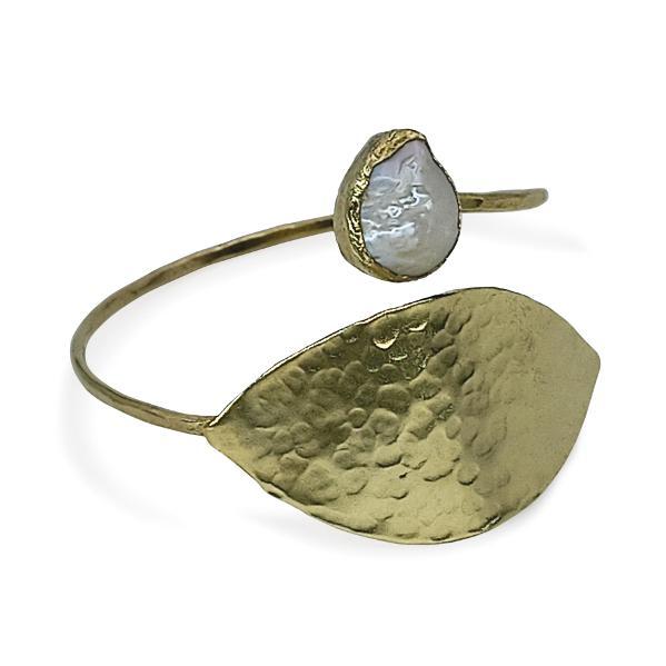 Handmade Leaf Bracelet with Pearl 24K Gold Finished | Sensations