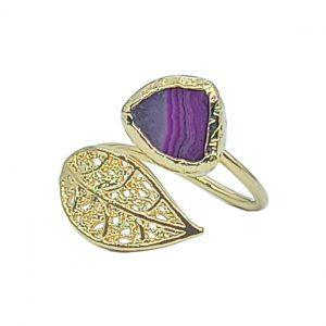 Handmade Leaf Ring 24K Gold Finished with Amethyst | Sensations