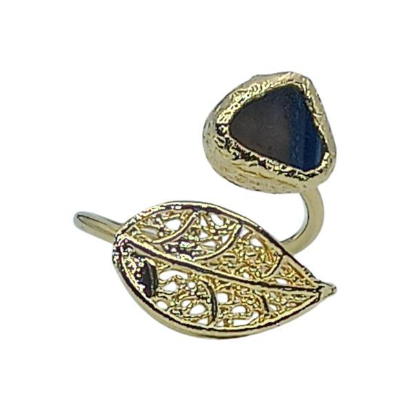 Handmade Leaf Ring 24K Gold Finished with Blue Agate | Sensations