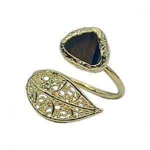 Handmade Leaf Ring 24K Gold Finished with Blue Agate | Sensations