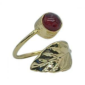 Handmade Leaf Ring 24K Gold Finished with Red Agate | Muse