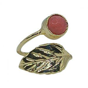 Handmade Leaf Ring 24K Gold Finished with Rhodonite | Muse