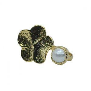 Handmade Leaf Ring 24K Gold Finished with Water Pearl | Insight
