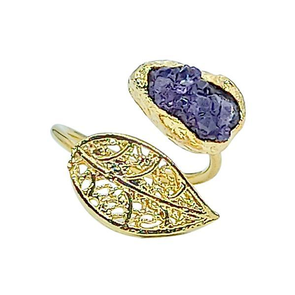 Handmade Leaf Ring 24K Gold Finished with Amethyst Chips   Sensations  Free Shipping! Adjustable size   Handmade in Greece, Inspired from Ancient Greece