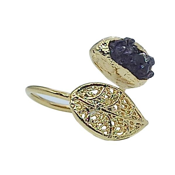 Handmade Leaf Ring 24K Gold Finished with Amethyst Chips | Sensations| Free Shipping! Adjustable size | Handmade in Greece, Inspired from Ancient Greece