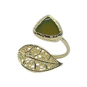 Handmade Leaf Ring 24K Gold Finished with Citrine Stone | Sensations