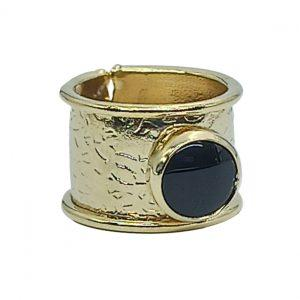 Handmade Ring 24K Gold Finished with Onyx | Divine