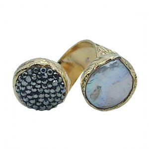 Handmade Ring 24K Gold Finished with Pearl & Marcasite | Muse