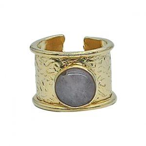 Handmade Carved Ring 24K Gold Finished with White Agate | Divine