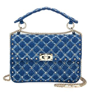 Rockstud Matelassé Denim Shoulder Bag