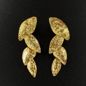 Leaf Earrings Handmade 24K Gold Finished Special designed by Greek Designer inspired from Ancient Greece