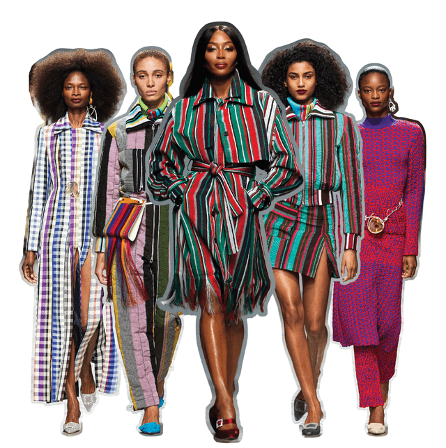 looks from ize's fall 2020 collection, led by naomi campbell