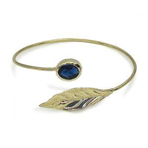 Handmade Leaf Bracelet 24K Gold Finished with Montana Blue Crystal | Sensations | https://jewelryaccessories4u.com